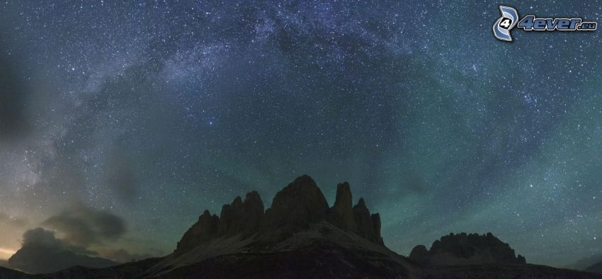 Voie lactée, ciel étoilé, rochers