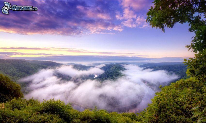 vue, nuages, collines