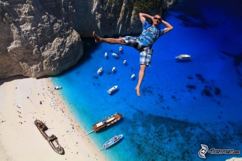 BASE Jump, mer, plage de sable, navires