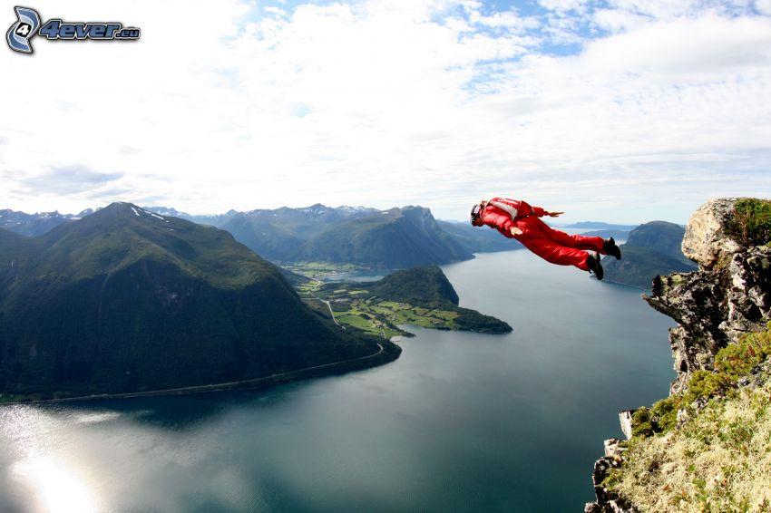 BASE Jump, rivière, montagne