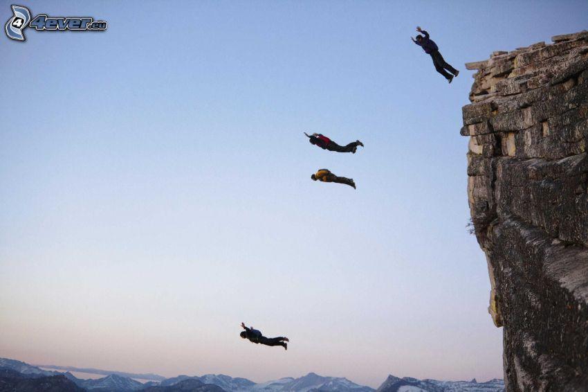 BASE Jump, saut, falaise
