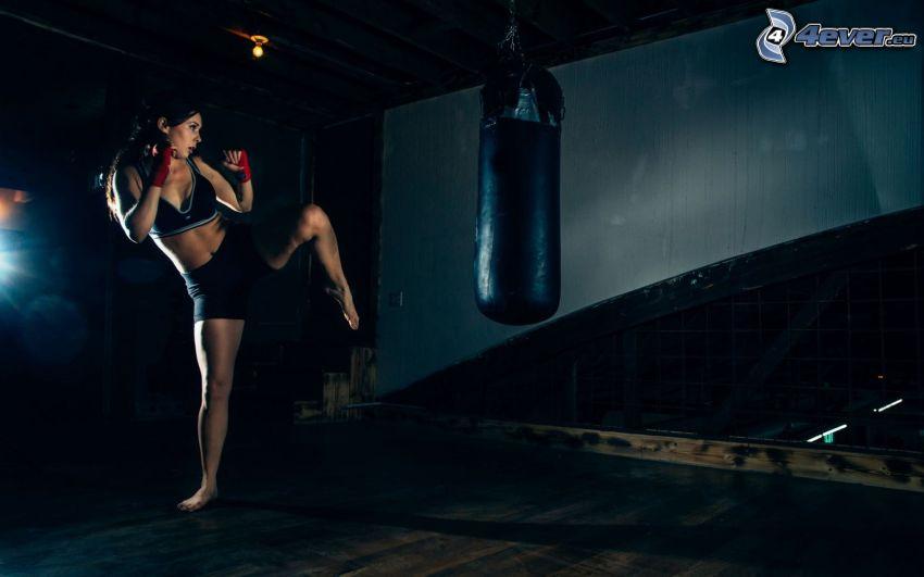 box, femme, exercice