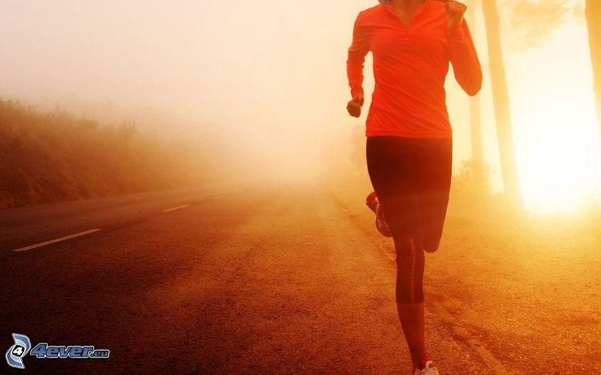 course, route, lever du soleil
