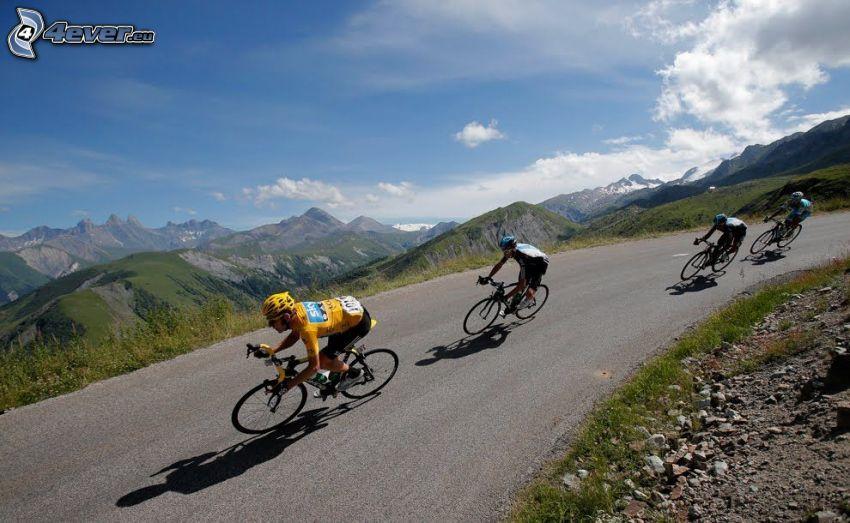 Tour De France, vue, montagnes, cyclistes