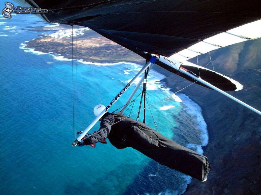 deltaplane, mer, côte