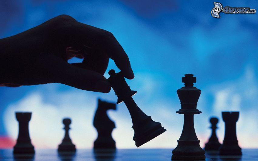 échecs, main, pièces d'échecs, silhouettes