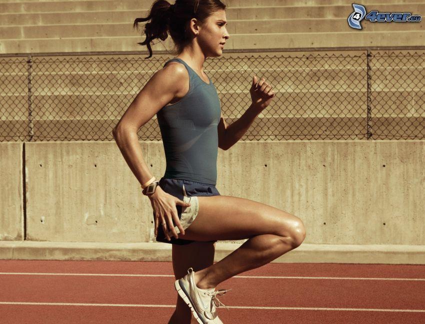femme sportive, course, femme, piste de jogging