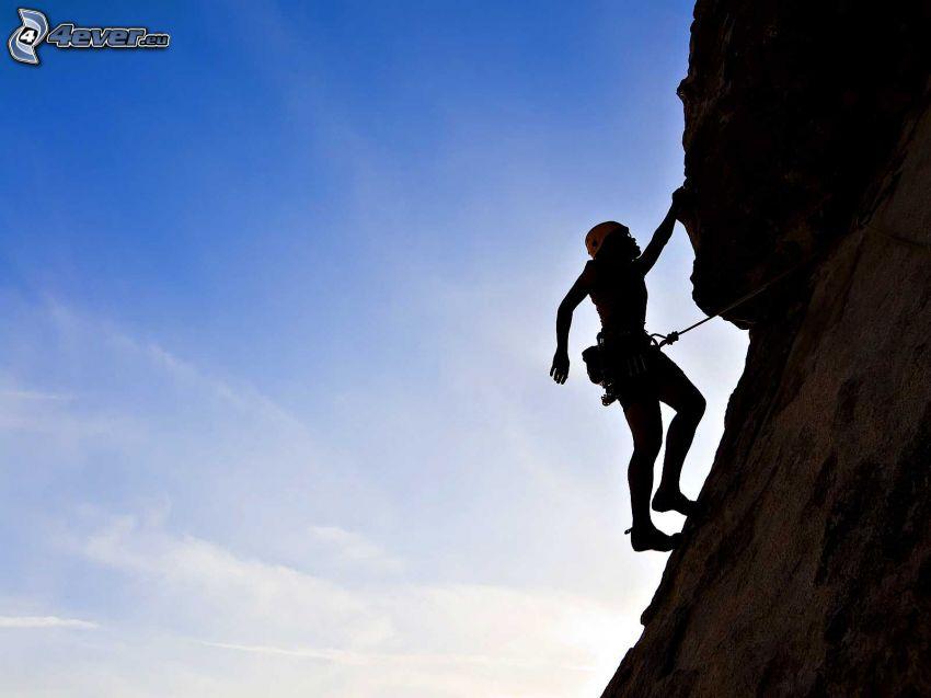 grimpeur, silhouette de femme, rocher