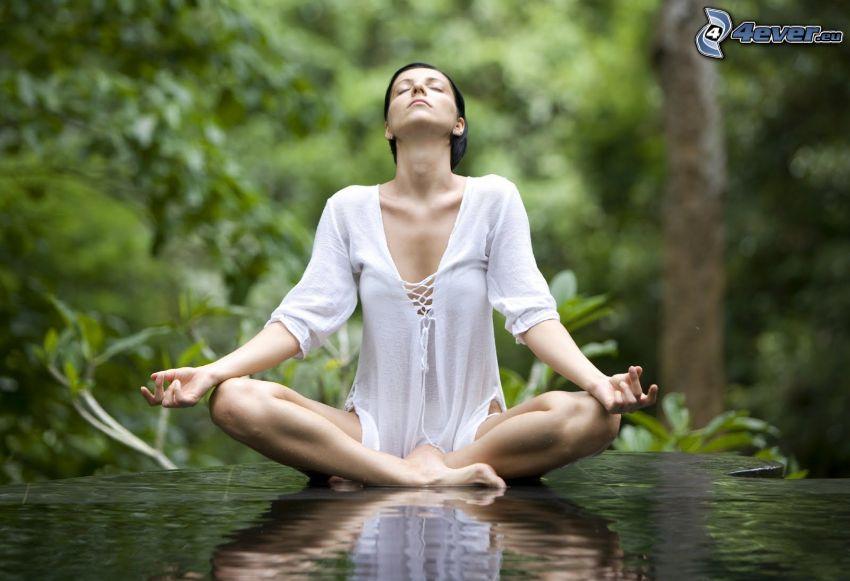 méditation, yoga, sit turc, surface de l'eau, repos