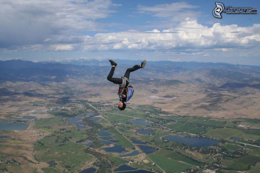 parachutiste, saut, champs