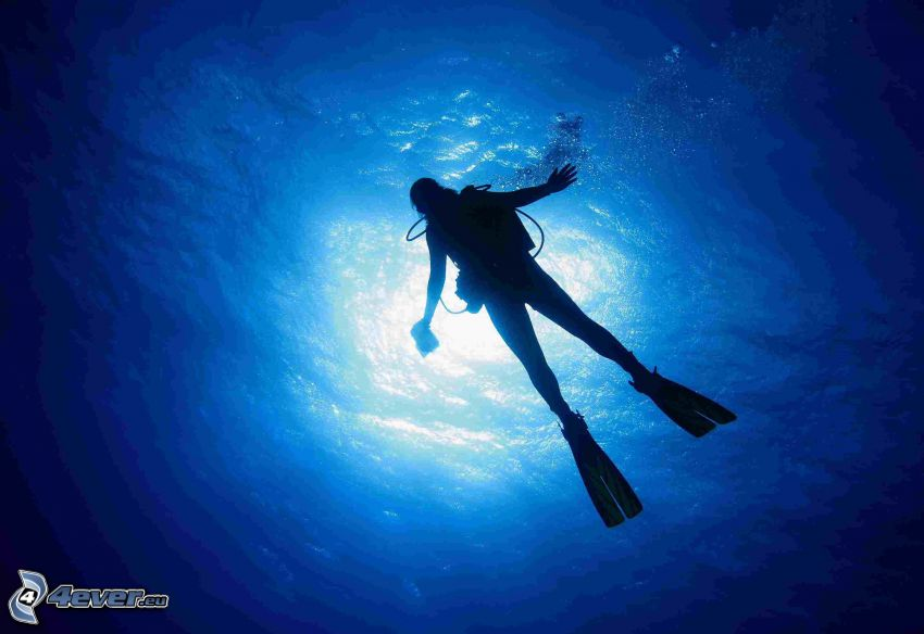 plongeur, rayons du soleil