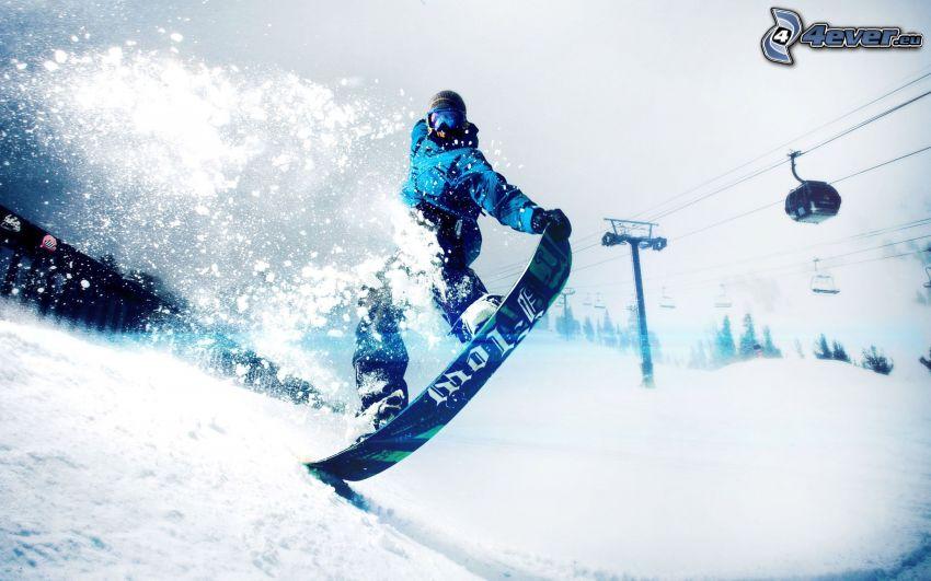 snowboarding, téléphérique, neige