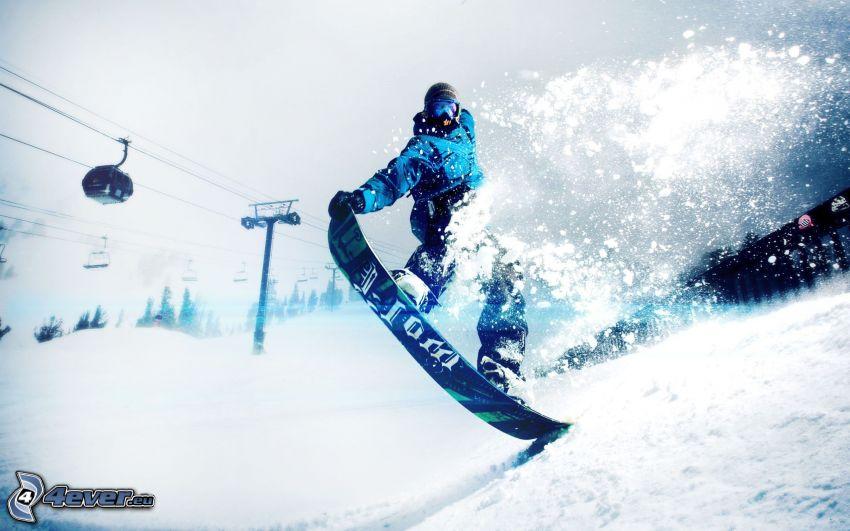 snowboarding, téléphérique