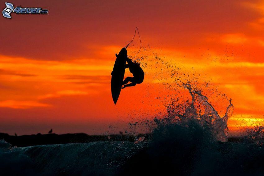 surf, saut, vague, ciel rouge, après le coucher du soleil