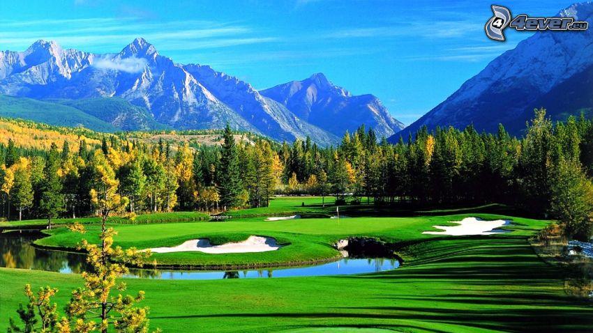 terrain de golf, rivière, forêt de conifères, montagnes rocheuses