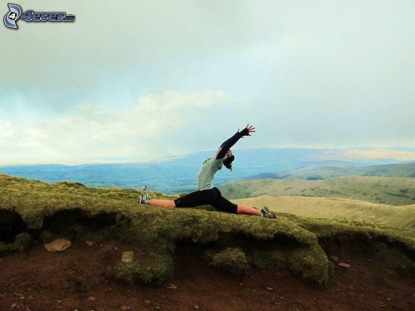 yoga, corde, montagne