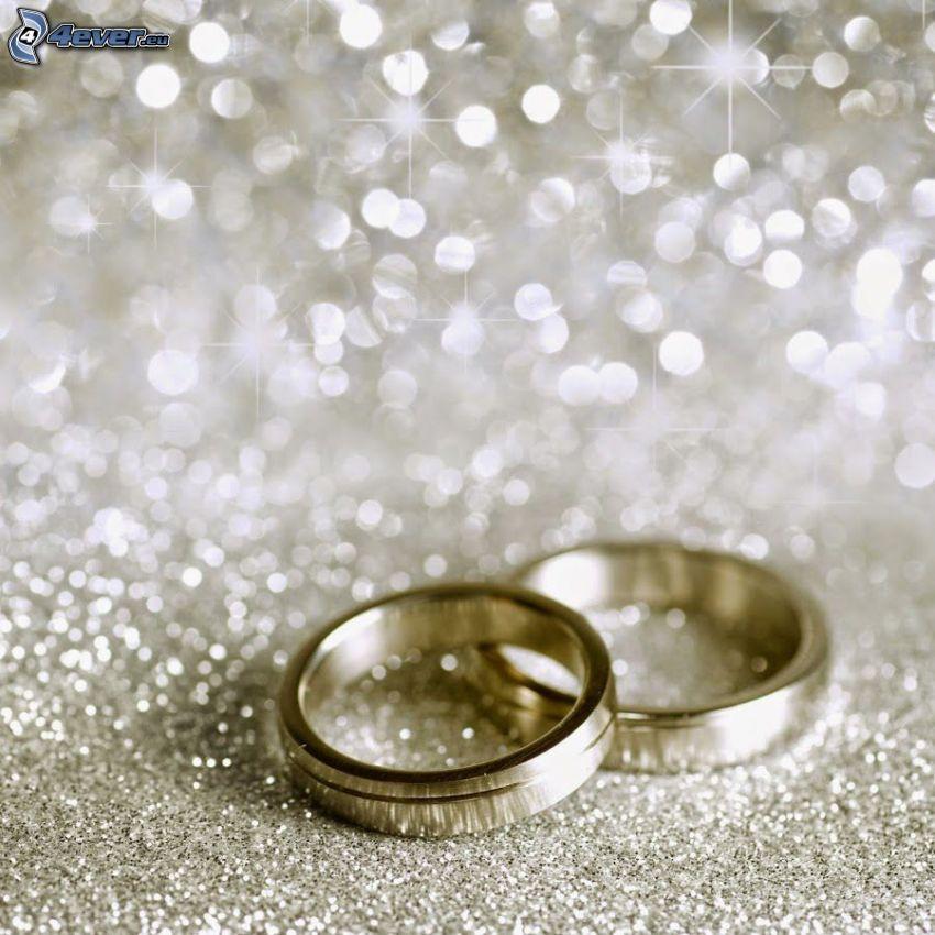 anneaux de mariage, cercles, argent