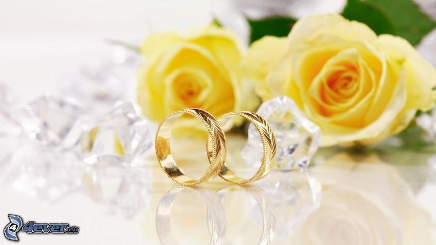 anneaux de mariage, roses jaunes, diamants