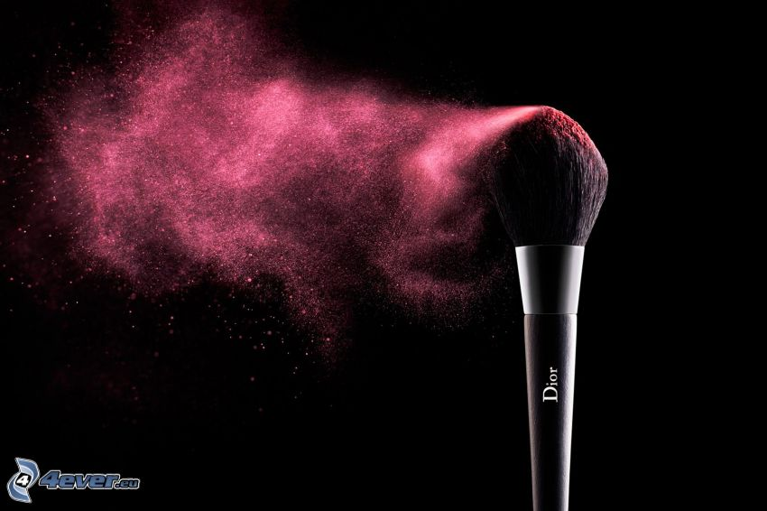 brosse, make-up, couleur rose