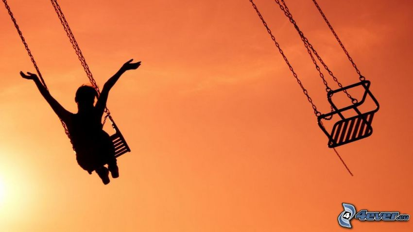 carrousel, joie, silhouette de femme