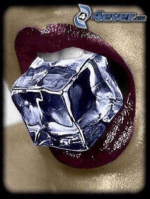 cube, glace, lèvres, bouche, dent