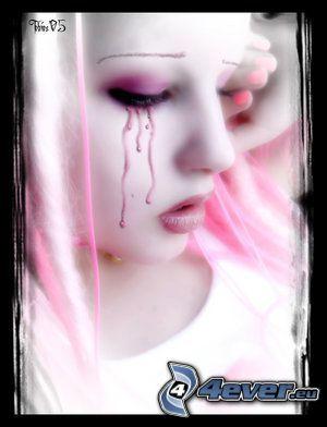 amour, rose, tristesse, pleure, larme