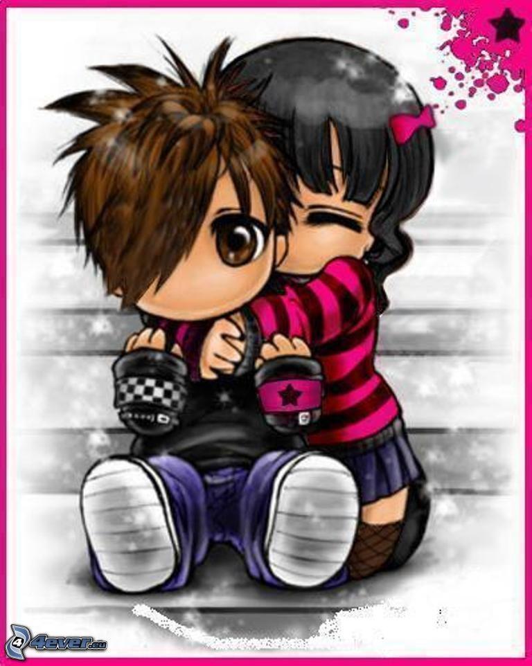 couple dessiné, emo étreinte, amour
