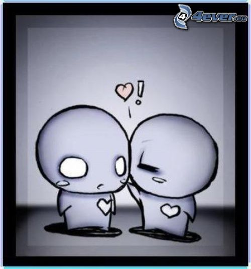 emo amour, couple dessiné, personnages, cœur, amour, baiser