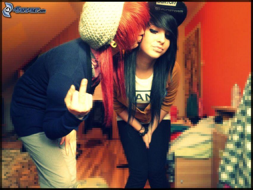 emo couple, geste, baiser