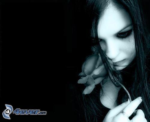 emo fille, tristesse, rose, pleure, larme
