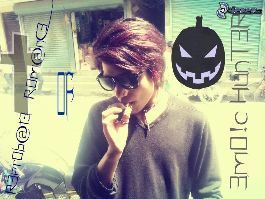 le garçon avec une cigarette, emo