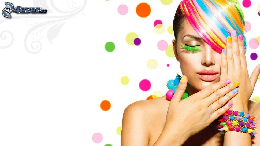 fille, couleurs, cheveux colorés, bracelet, ongles peints, anneaux colorés