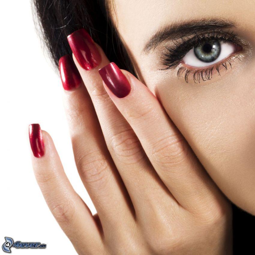œil, ongles peints, main