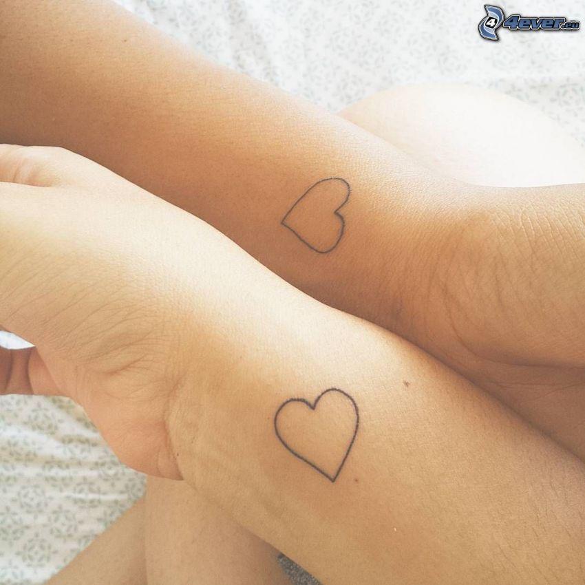 tatouage, cœurs