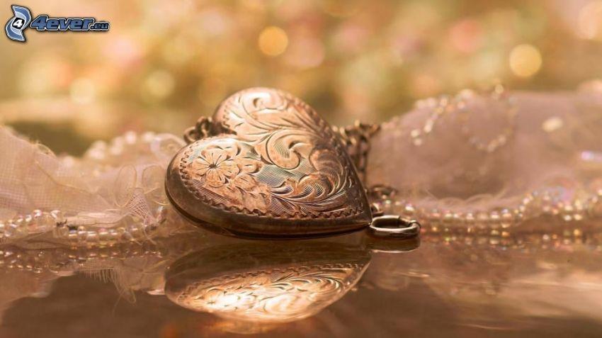 pendentif, cœur, reflexion