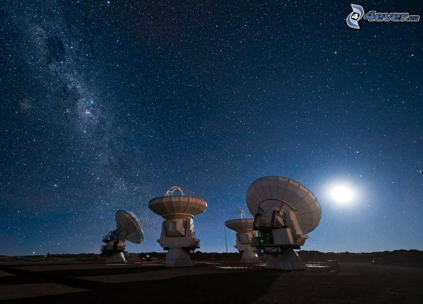ALMA, observatoire astronomique, ciel étoilé, lune