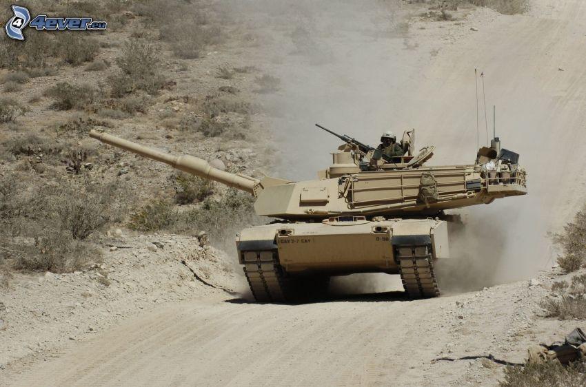M1 Abrams, char, soldat, la poussière