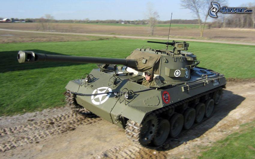 M18 Hellcat, char, prairie, chemin de campagne