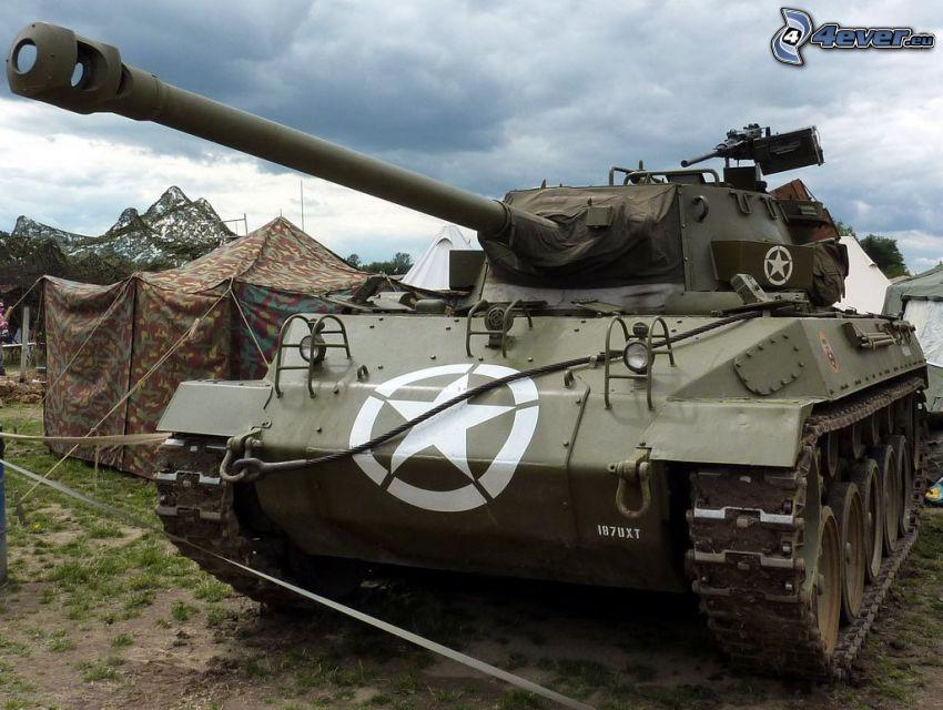 M18 Hellcat, char, tente