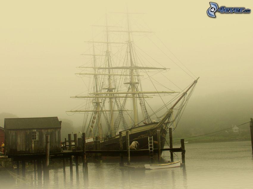 bateau à voile, navire, port