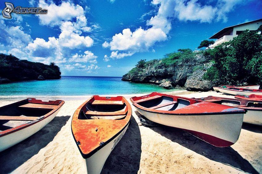 bateaux, ouvert mer, rochers