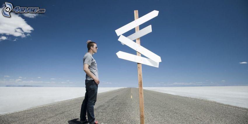 panneaux de signalisation, route, homme