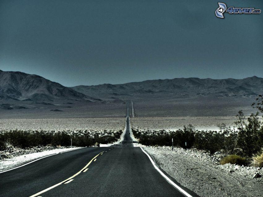 route droite, montagne