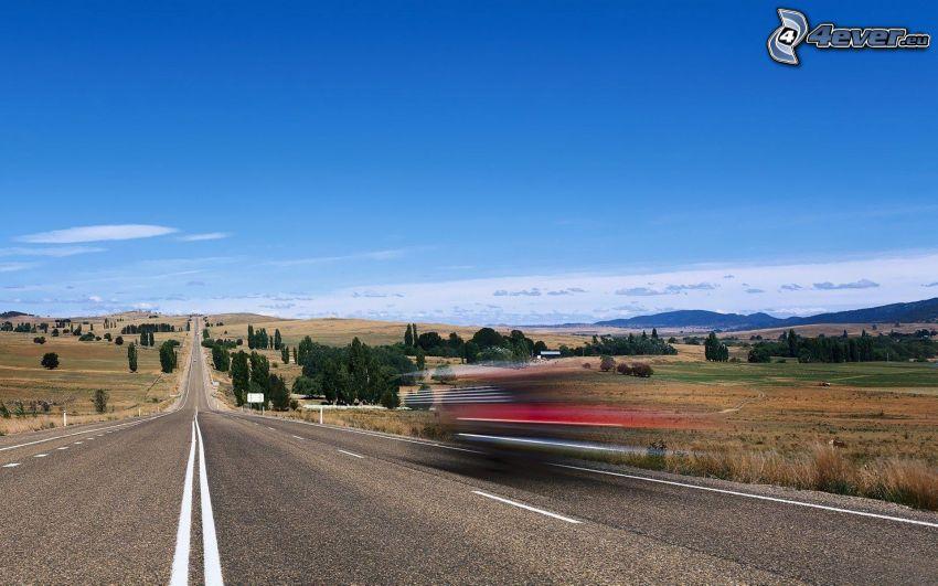 route droite, paysage