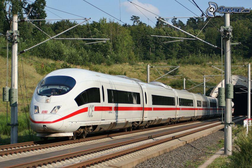 ICE 3, rails, train à grande vitesse, le tunnel de chemin de fer