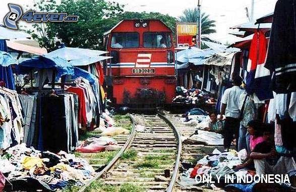 Indonésie, train, marché