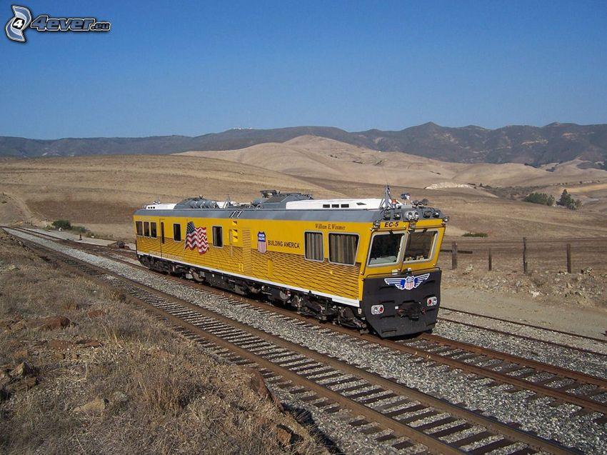 locomotive, Union Pacific, montagne, rails