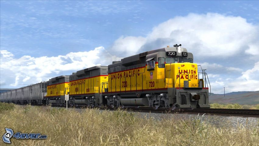 locomotive, Union Pacific, train de marchandises