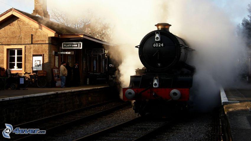locomotive à vapeur, gare
