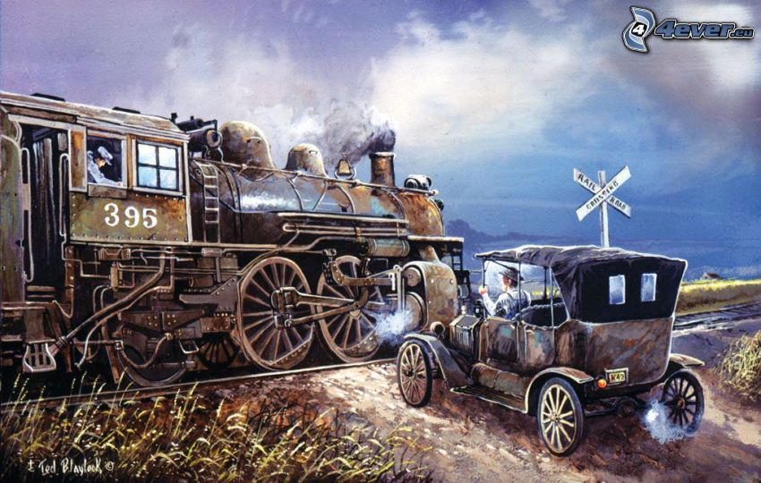 passage à niveau, automobile de collection, train à vapeur, dessin animé